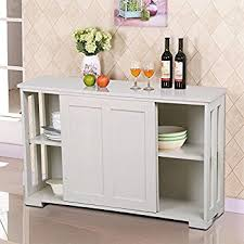 Sliding Door Kitchen Cabinet Amazon Com Costzon Storage Sideboard Home Kitchen Cupboard