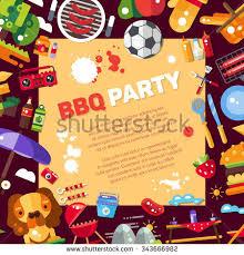 invitation template vector flat design barbecue stock vector