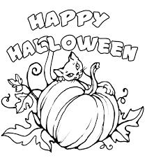 halloween coloring cat pumpkin happy