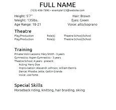 beginner resume template sle acting resumes foodcity me