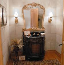 The Powder Room Salon Single Wash Basin Toilet Mirror Decorated Small Powder Room