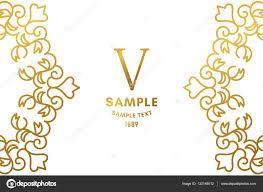 Business Card Invitation Golden Luxurious Logo Frame Golden On White Background Vector
