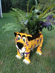 Animal Planter by Wooden Animal Planter Lsu Mike The Tiger Wooden Animals