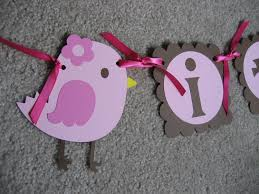 pink and brown bird baby shower banner by lindseyspartypantry