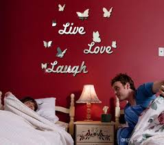 diy mirror butterfly live love laugh acrylic wall sticker home