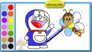 color doraemon with bee coloring page and learn colors for kids pt