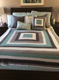 Baby Blue Cushions Crochet Giant Granny Square Blanket And Cushion Teal Grey And