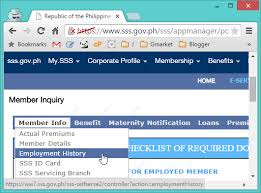 Request Letter For Sss Certification Your Employment History On The Sss Website Starrguide