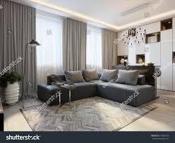 modern living room interior design bar stock illustration