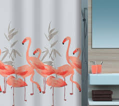 Flamingo Shower Curtains Flamingo Shower Curtain With Sink And Grey Color Walls And Shelf