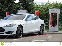 tesla charging white tesla model s electric car charging battery editorial image