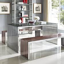 silver dining room table gridiron stainless steel dining table in silver eei 1433 slv