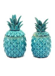 set of 2 turquoise ceramic pineapple jars home decor pinterest