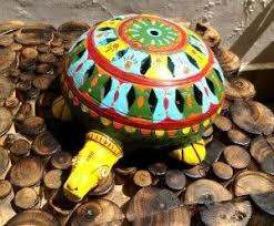 tortoise home decor decorative indichues handmade paper mache tortoise set in blue