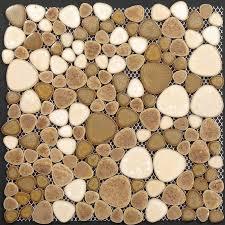 Wholesale Porcelain Pebble Tile Sheets Bathroom Wall Backsplash Collec - Pebble backsplash