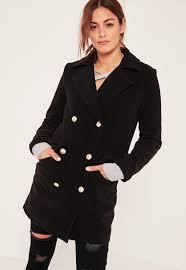 petite black short faux wool military coat missguided