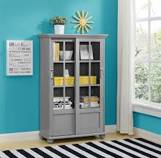 Antique White Bookcase With Doors by Amazon Com Altra Aaron Lane Bookcase With Sliding Glass Doors