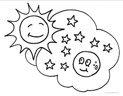 rocket moon clouds the moon and the clouds coloring page