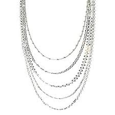 multi layered necklace images Sterling silver multi strand long layered chain jpg