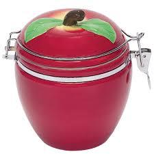 Apple Canisters For The Kitchen Amazon Com Boston Warehouse Apple Pickin U0027 Hinged Jar Kitchen