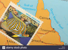 Great Barrier Reef Map Australia Postage Stamp With Australian Tropical Fish And Map
