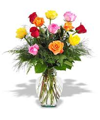 Multi Colored Roses One Dozen Mixed Colored Roses In Cylinder Vase