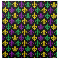 green mardi gras mardi gras green gold purple fleur de lis pattern cloth napkin