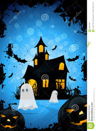 halloween haunted house flyer background halloween background with haunted house pumpkins and ghosts stock