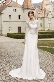 chiffon lace long sleeves wedding dresses 2017 beaded sash sweep