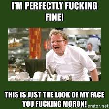 Chef Meme Generator - i m perfectly fucking fine this is just the look of my face you