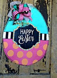 Easter Egg Door Decorations by Easter Decorations Hand Painted Burlap Door By Connierisleycrafts