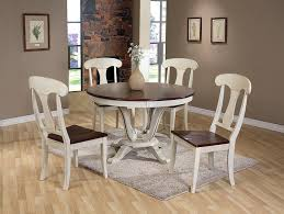 amazon com baxton studio napoleon chic country cottage antique amazon com baxton studio napoleon chic country cottage antique oak wood and distressed white 5 piece dining set with 48 inch round pedestal base fixed top