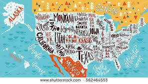 usa map with states usa map states pictorial geographical poster stock vector