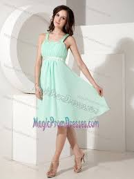 apple green knee length junior prom dresses with beaded straps