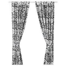 Tree Curtains Ikea Kungslilja Curtains With Tie Backs 1 Pair Grey White 145x250 Cm