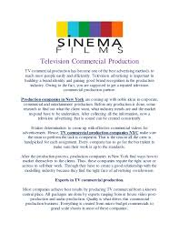 Nyc Production Companies Television Commercial Production