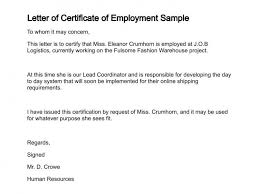 Certification Of Employment Letter Template employment certificate format letter letter of recommendation