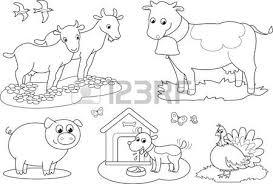 coloring farm animals children donkey goose hen sheeps