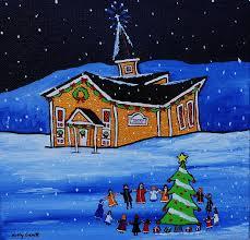singing christmas carols around the tree painting by holly everett