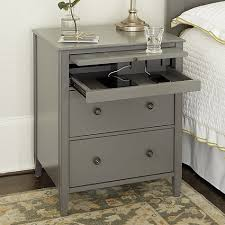 Metal Nightstands With Drawers Sidney Side Table With Charging Station Metal Drawers Bedrooms