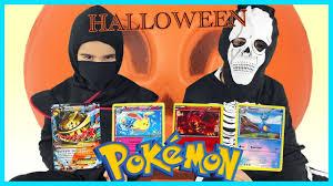 Halloween Skeleton Games by Halloween Skeleton And Ninja Opening Pokemon Cards With Surprise