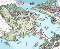 san francisco map east bay shopping in the bay area barry bruner illustration