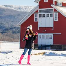 Vermont Travel Vests images Vermont red barn wearing white in winter southern belle in png