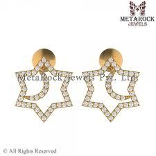 gold earring studs designs 14k yellow gold design diamond stud earring metarock jewels