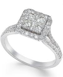 square diamonds rings images Macy 39 s square diamond cluster engagement ring 3 4 ct t w in tif