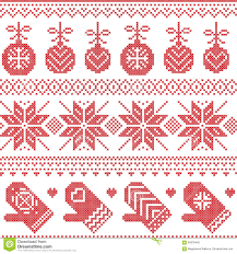 scandinavian nordic seamless pattern with baubles