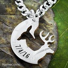 buck and doe couples necklace anniversary gift buck and doe couples necklace with custom