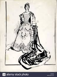 jun 01 1953 sketches for the royal coronation gowns stock