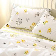 Flower Bed Sets Pastoral Yellow Flower Bedding Set Cotton