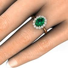 emerald engagements rings images Oval emerald ring with diamond halo cluster 14k or 18k may jpg